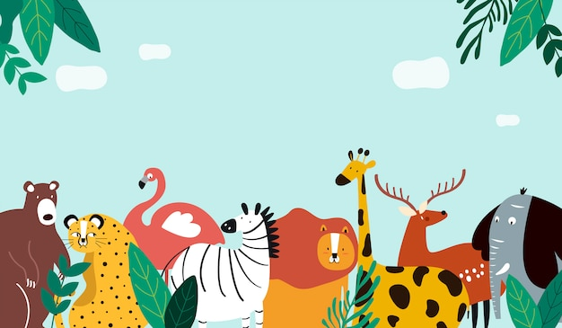 Animals theme template vector illustration