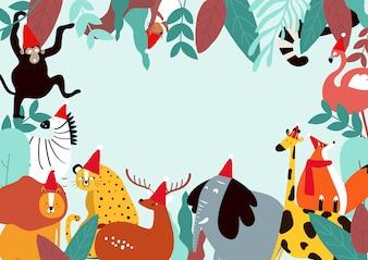 Животные тема шаблон векторные иллюстрации