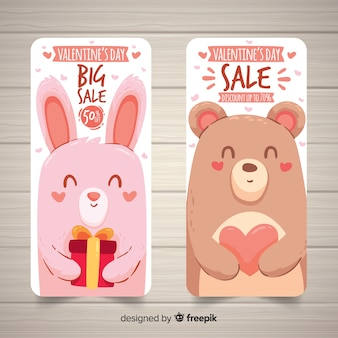 Animals valentine sale banner