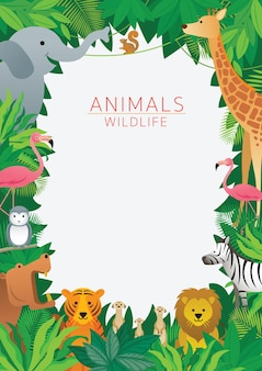 Animals wildlife in jungle illustration