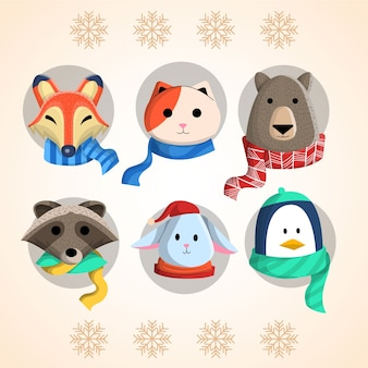 Animals winter collection vector