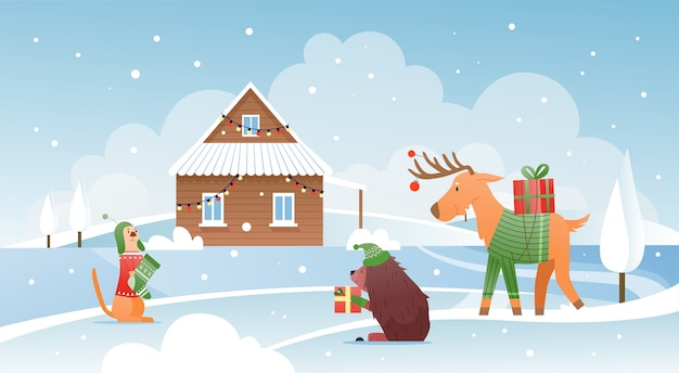 家の近くのクリスマスプレゼントの動物雪の降る冬のかわいいシーン