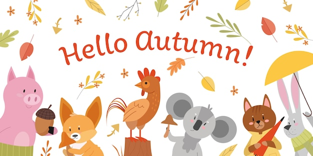 Animals with hello autumn lettering concept  illustration. cartoon  animalistic forest fall background, pig with autumnal acorn, hare in scarf holding umbrella, fox rooster koala characters