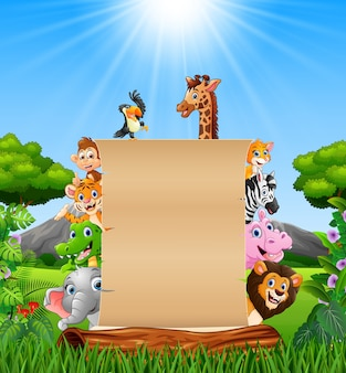 Animals with paper blank sign at forest