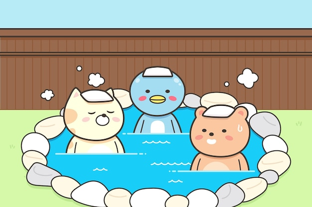 Animals with towels on head sitting in onsen