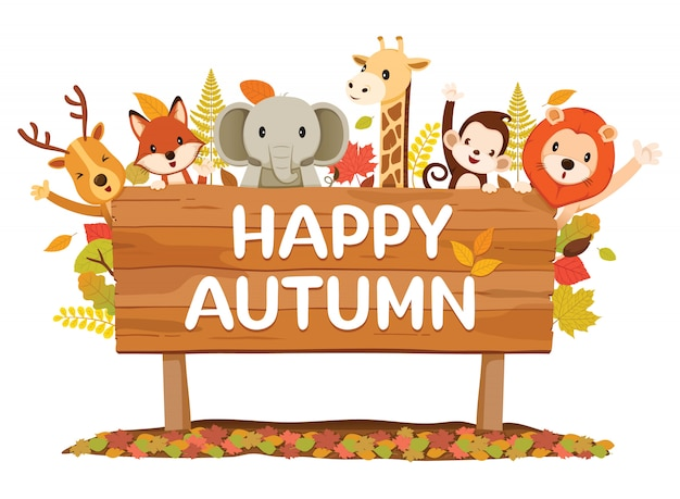 Animals on wooden signboard with happy autumn texts