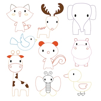 Animals worksheet vector design