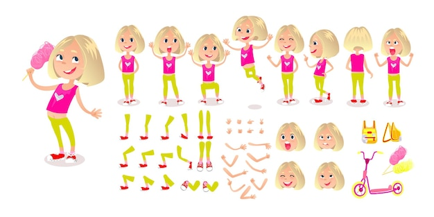 Мультик девушка конструктор персонажей набор лицо эмоции синхронизация губ позы и эмоции