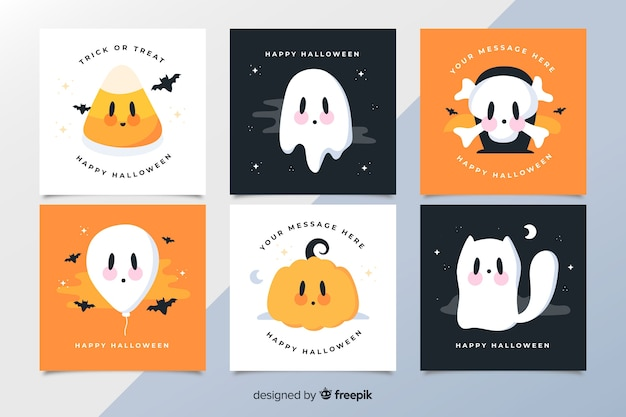 Animated cartoon spooky creatures halloween card collection