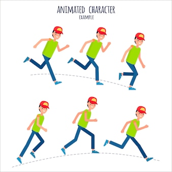 Animated character example with boy in motion