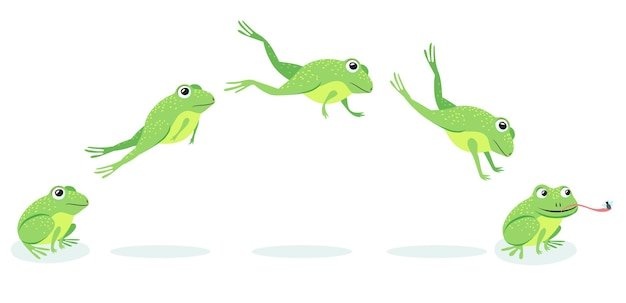 Animated process of frogs leaps sequence. cartoon toad jumping for prey, catching insect illustration