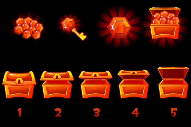 Animated treasure chest with red precious gem. step by step, full and empty, open and closed box. icons on separate layers.
