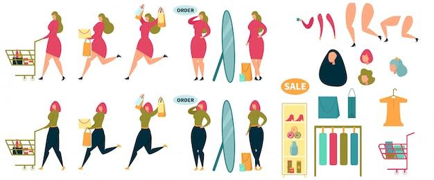 Animated woman character shopping cartoon set