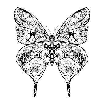 The animation of the beautiful zentangle ornament of the butterfly for the tattoo inspiration