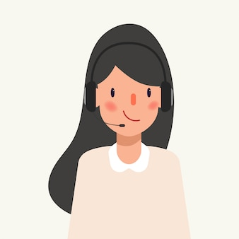 Animation character of businesswoman in call center job.