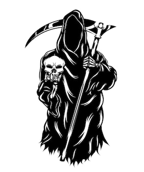 The animation of the grim reaper holding the head skull without the face
