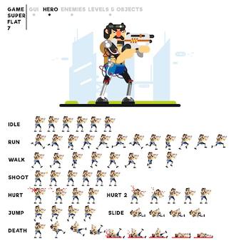 ビデオゲームを作成するためのミニガンを持つ未来的な男のアニメーション