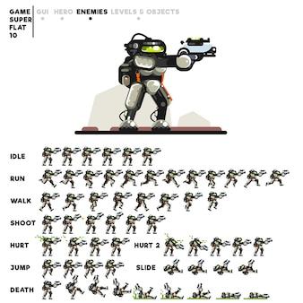 ビデオゲームを作成するためのピストルを持つロボットのアニメーション