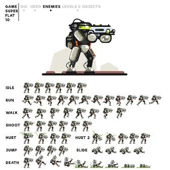 ビデオゲームを作成するためのライフルを持つロボットのアニメーション
