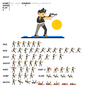 ビデオゲームを作成するための拳銃を持つ凶悪犯のアニメーション