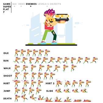 ビデオゲームを作成するためのショットガンを持つ高度な未来少年のアニメーション