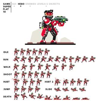 ビデオゲームを作成するためのミニガンを持つ上級兵のアニメーション