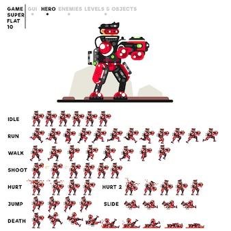 ビデオゲームを作成するためのショットガンを持つ上級兵のアニメーション