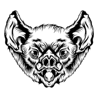 Анимация головы летучей мыши с черным контуром для идей татуировки
