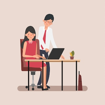 Animation scene business people colleague assign job.