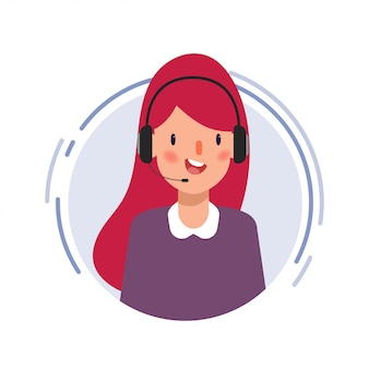 Animation scene character of businesswoman in call center.