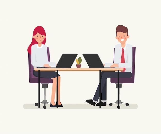 비즈니스 사람들이 동료를위한 애니메이션 장면.