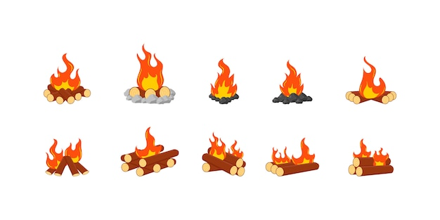 Animation set of flame on firewood or logs in fire. collection of burning bonfires or campfires isolated on a white background. wood campfire, travel and adventure symbol.