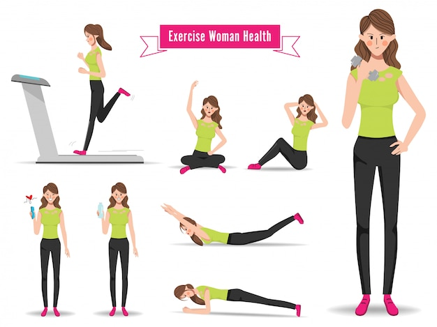 Animation woman character in workout exercise pose.