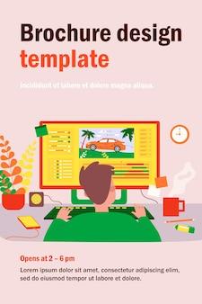 직장에 앉아 모션 디자인을 만드는 애니메이터는 평면 그림을 격리합니다. 컴퓨터에서 작업하는 만화 작가. 그래픽 제작자 직업 및 애니메이션 개념
