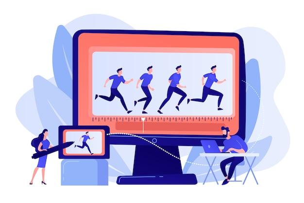 캐릭터 움직임을 작업하는 애니메이터. 걷기 프레임 디자인