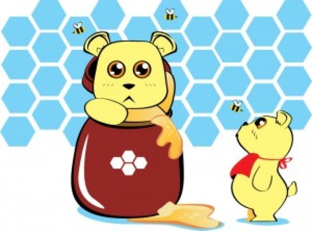 Anime bears with honey jar vector