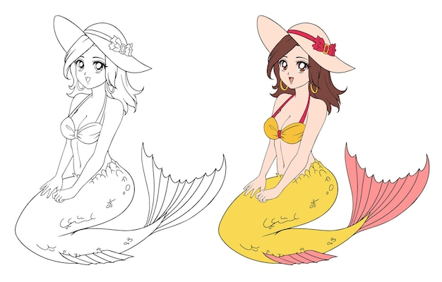 Anime beautiful mermaid wearing bikini and hat. hand drawn  illustration. contour and colored version. isolated on white. can be used for coloring book, games, sticker, tattoo, shirt design.