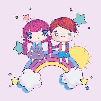 Аниме милая пара на радуге