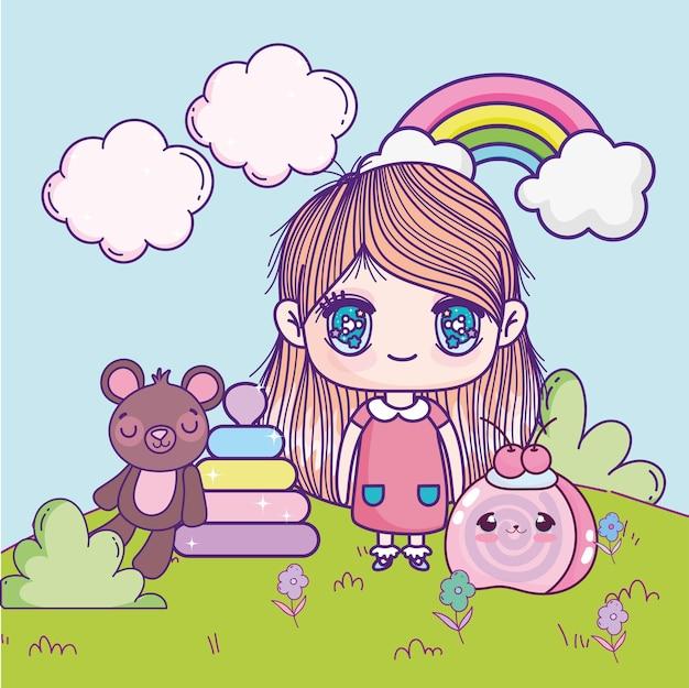 애니메이션 귀여운 소녀와 장난감