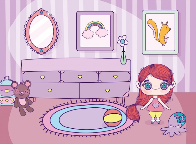 Anime cute girl with toys furniture carpet and frames photo