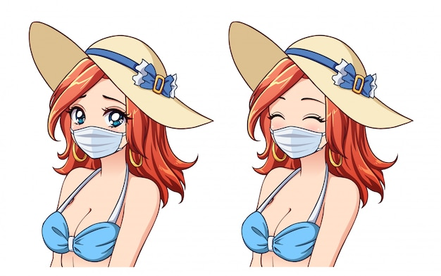 Anime cute woman wearing summer hat, bikini and medical mask. set of two different expressions. coronavirus tourism. hand drawn vector illustration.