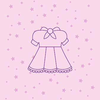 Anime dress costume icon over pink background