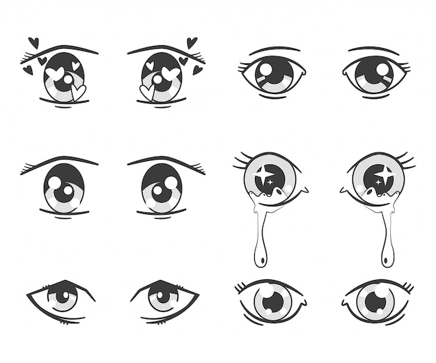 Anime eyes with different expressions. black silhouette icons set isolated on white