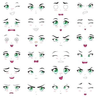 Выражения лиц аниме женских персонажей каваи. манга женщина рот, глаза и брови векторные иллюстрации набор. мультяшные аниме девушки, эмоции. мультфильм лицо эмоция манга комикс глаза Premium векторы