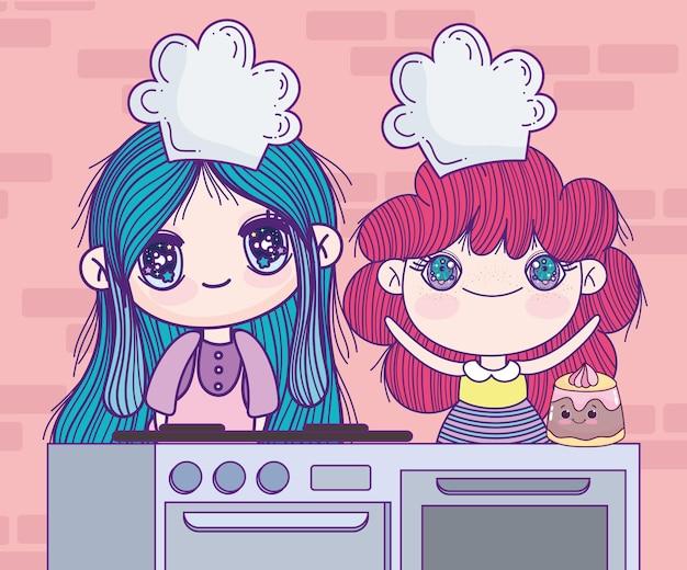 주방의 애니메이션 길 프리미엄 벡터