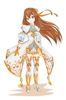 화이트 골드 의상 캐릭터 게임 일러스트와 함께 애니메이션 소녀 머리 갈색