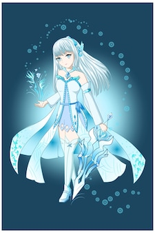 Anime girl white brown with white blue costume bring the sword