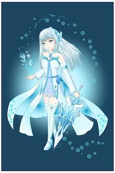 Девушка аниме белый коричневый с бело-синим костюмом приносит меч