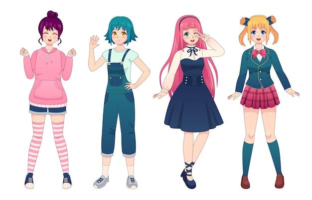 アニメの女の子。制服、ロリータスタイルのドレス、オーバーオール、パーカーの美しい日本のマンガ女子学生。幸せなかわいい女性のポーズベクトルセット。カジュアルな服装の女性の陽気なキャラクター