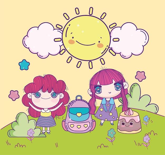 풀밭에서 애니메이션 소녀